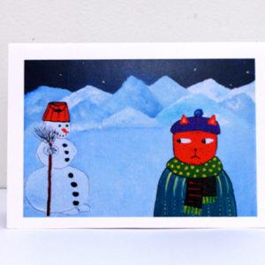 Postkaart – Kass Ja Lumememm